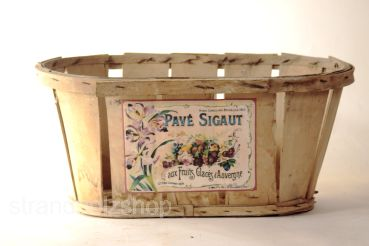 "Vintage chip basket with sticker fruit basket ""Pave Sigaut"""