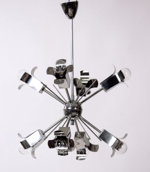 Sputnik lamp Space Age Ufo 70s chrome hanging lamp