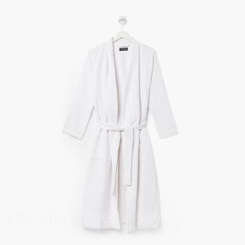 Bathrobe white Waffelpique honeycomb pattern 100% cotton L