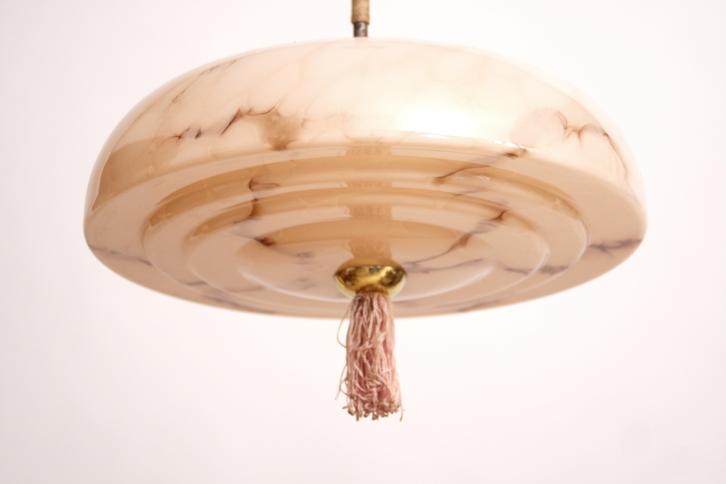 Deckenlampe Art Deco 30er Lampe Glasschirm Hängelampe Schlafzimmer ...