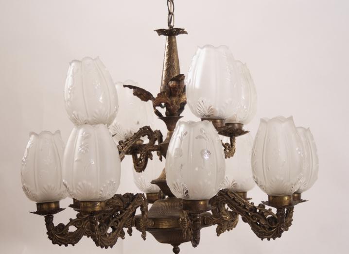 Kronleuchter Messing Deckenleuchter Lampe Glasschirm Leuchter ...