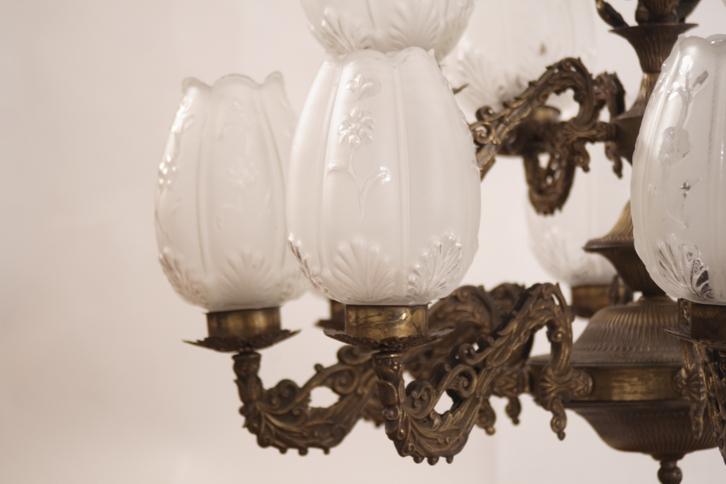 Kronleuchter Mit Glasschirm ~ Kronleuchter messing deckenleuchter lampe glasschirm leuchter