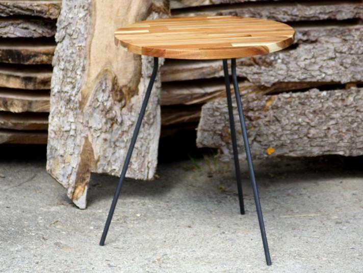 beistelltisch stahl akazie tischchen nachttisch. Black Bedroom Furniture Sets. Home Design Ideas