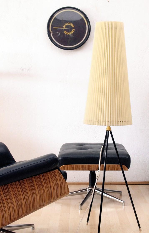 Vintage Dreibein Tripod 50er 60er Jahre Stehlampe Plissee Lampe