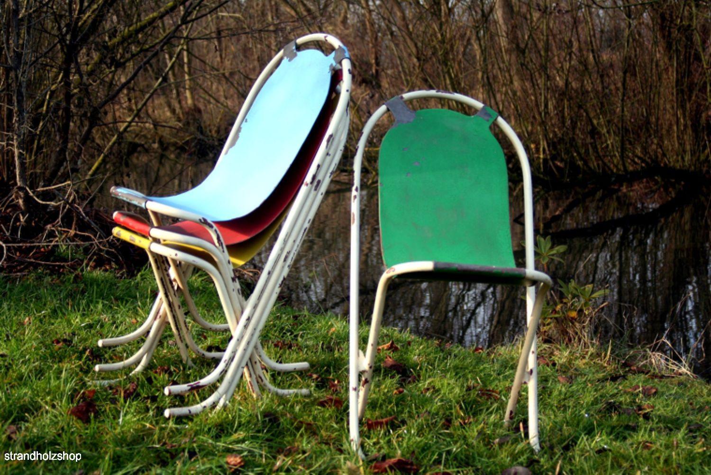 vintage gartenst hle 4er set blech 50er 60er stapelstuhl stuhl cocktailsessel strandholzshop. Black Bedroom Furniture Sets. Home Design Ideas