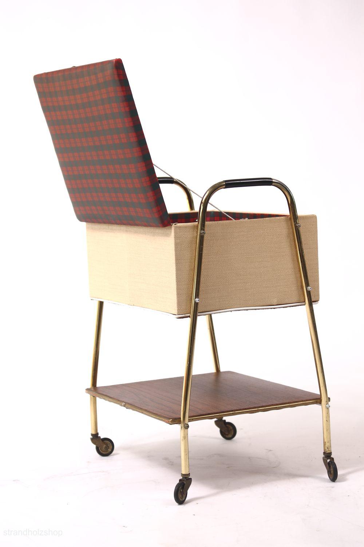 truhe n hkastn tisch kiste aufbewahrungstisch mit rollen 60er jahre strandholzshop vintage. Black Bedroom Furniture Sets. Home Design Ideas